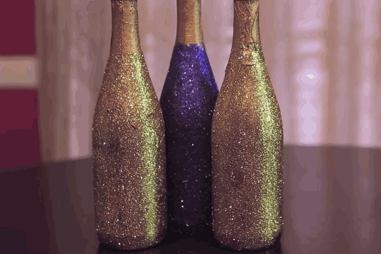 Gold Glitter Bottles